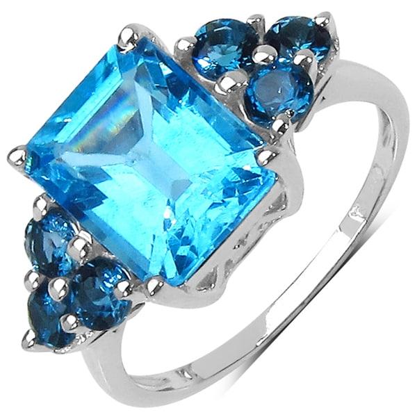 Malaika Sterling Silver 4 3/4ct TGW Blue Topaz Ring