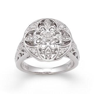 Sterling Silver 1/10ct TDW Diamond Vintage-inspired Ring (H-I, I2-I3)