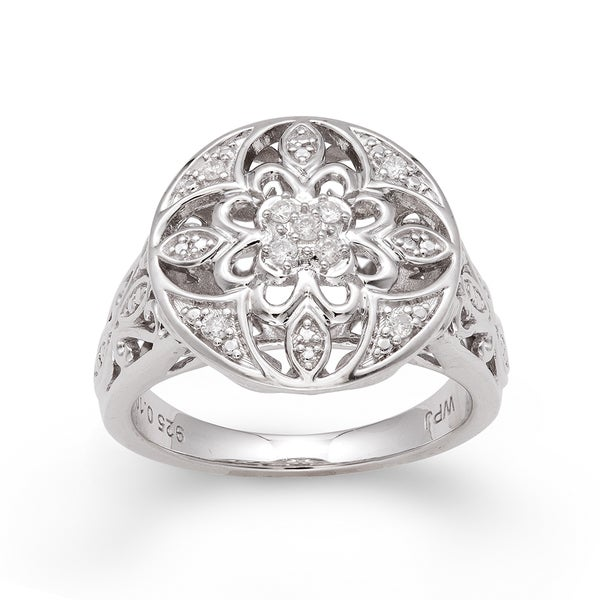 Sterling Silver 1/10ct TDW Diamond Vintage-inspired Ring (H-I, I2-I3)