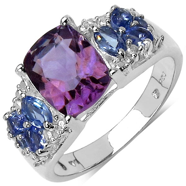 Malaika Sterling Silver 2 1/2ct TDW Amethyst and Tanzanite Ring