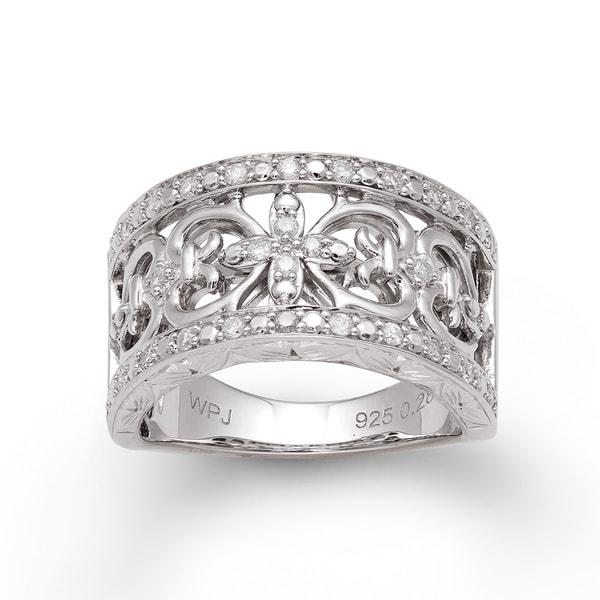 Sterling Silver 1/3ct TDW Diamond Vintage-inspired Ring (H-I, I2-I3)