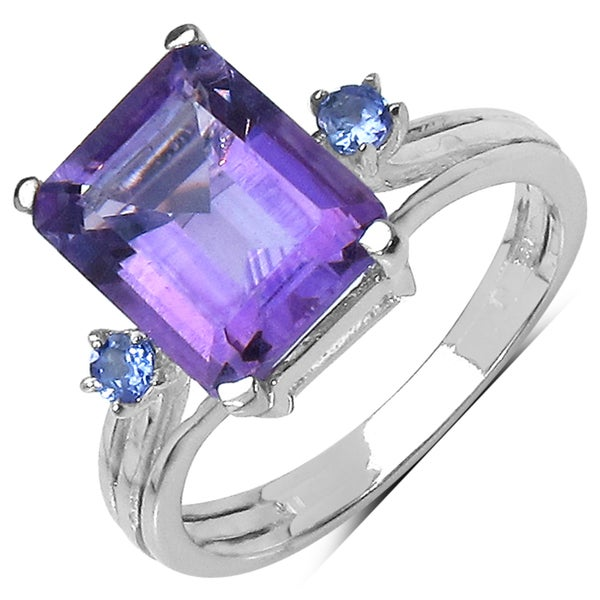Malaika Sterling Silver 2.75ct TGW Amethyst and Tanzanite Ring
