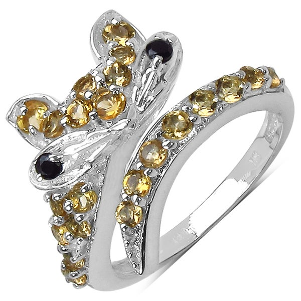 Malaika Sterling Silver 1.33ct TGW Citrine and Black Spinel Ring