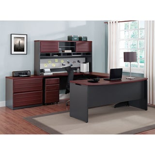 Ameriwood Home Benjamin Natural/ Grey Credenza and Hutch Bundle