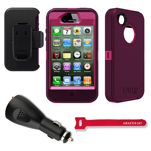 OtterBox Defender iPhone 4/4S Protective Case/ Car Charger/ Hook and Loop Tie