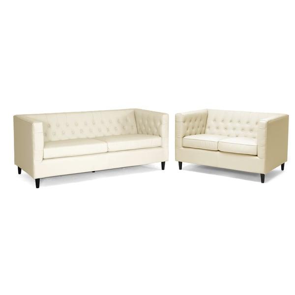 Baxton studio cream leather 2 piece sofa set reviews for 2 piece sofa set