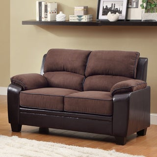 TRIBECCA HOME Morena Dark Brown Two-Tone Microfiber Contemporary Loveseat