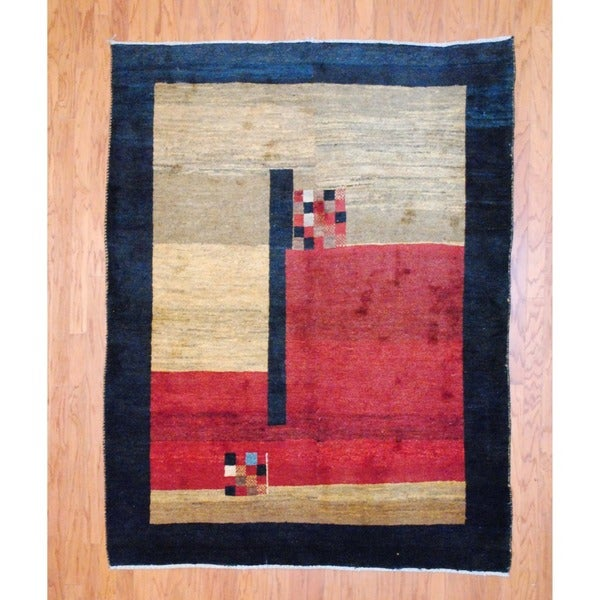 Persian Hand-knotted Gabbeh Red/ Blue Wool Rug (5'10 x 7'7)