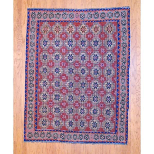 Afghan Hand-knotted Tribal Soumak Burgundy/ Navy Kilim Wool Rug (5'3 x 6'10)
