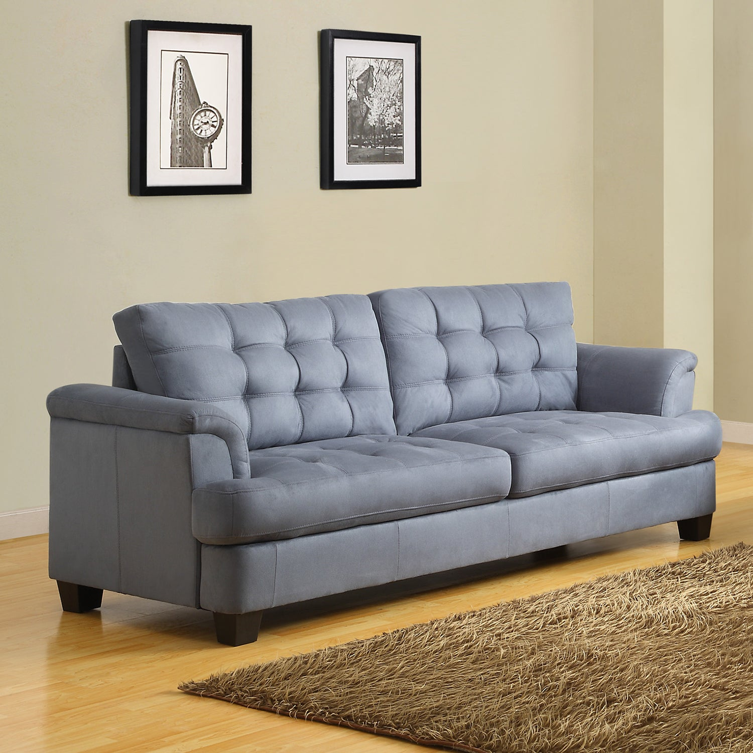 Picture of: Shop Black Friday Deals On Rosalie Grey Blue Tone Microfiber Tufted Modern Sofa Overstock 7341092