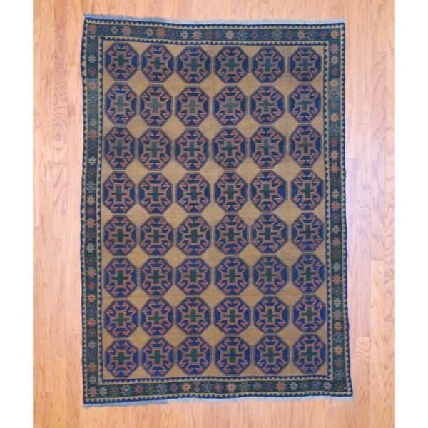 Afghan Hand-knotted Tribal Soumak Navy/ Green Kilim Wool Rug (4'10 x 6'10)