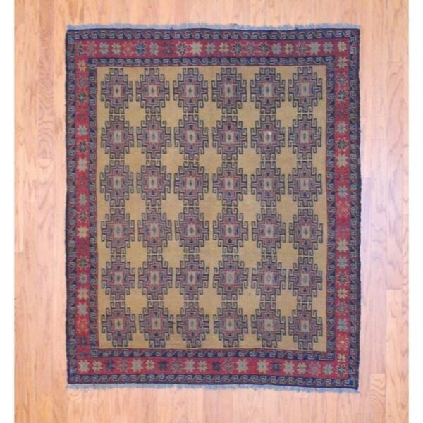 Afghan Hand-knotted Tribal Soumak Gold/ Navy Kilim Wool Rug (5' x 6')