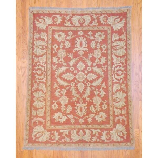 Afghan Hand-knotted Tribal Soumak Rust/ Beige Flatweave Kilim Wool Rug (5'3 x 7')