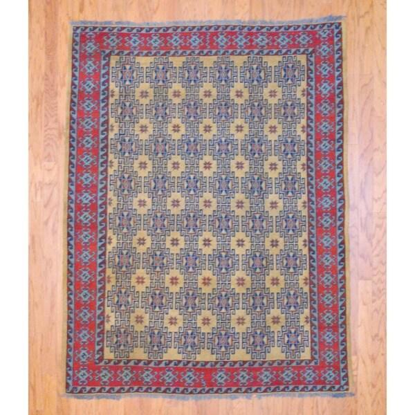 Afghan Hand-knotted Tribal Soumak Gold/ Light Blue Kilim Wool Rug (5' x 7')