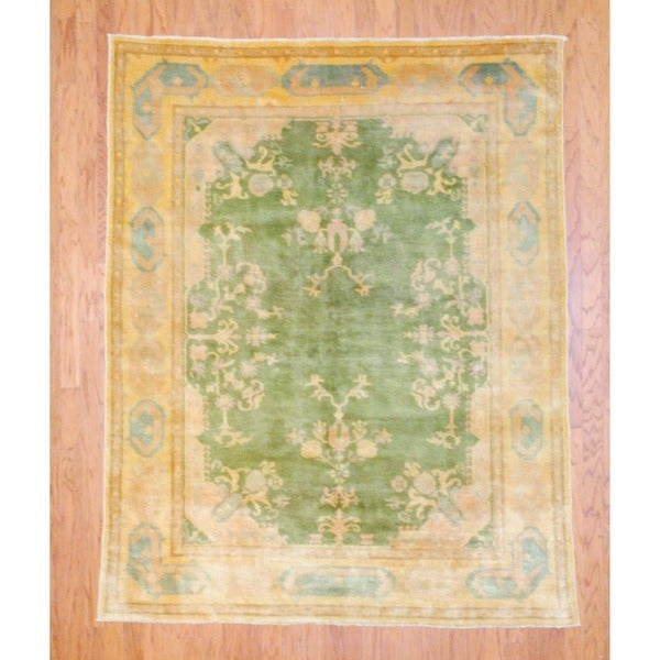 Egyptian Hand-knotted Vegetable Dye Green/ Gold Wool Rug (5'8 x 7'4)