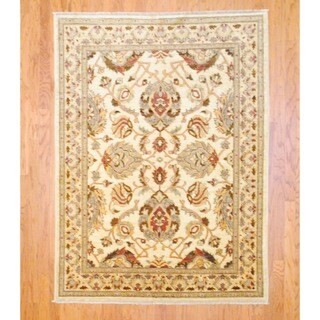 Herat Oriental Afghan Hand-knotted Vegetable Dye Beige/ Rust Wool Rug (5' x 6'9)