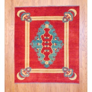 Herat Oriental Afghan Hand-knotted Oushak Vegetable Dye Wool Rug (5'4 x 6'4)