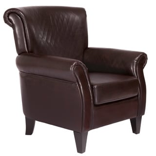 Brent Brown Quilted Leather Club Chair by Christopher Knight Home