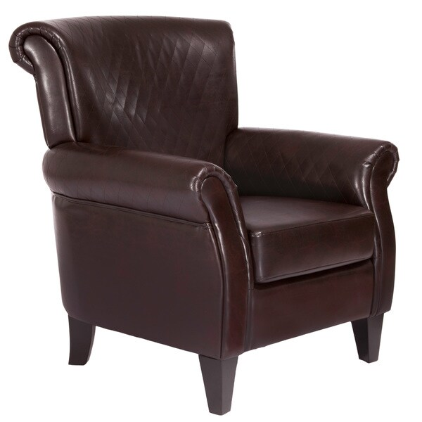 Christopher Knight Home Brent Brown Quilted Leather Club Chair