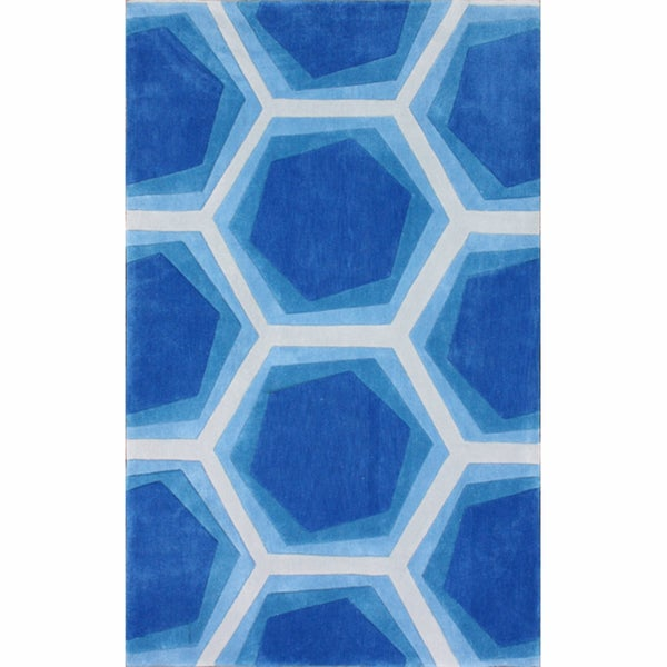 nuLOOM Handmade Abstract Honeycomb Blue Rug