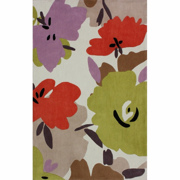Handmade Floral Contemporary Multi Rug - 5' x 8'