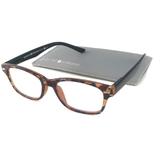 Gabriel+Simone Readers Unisex Metro Black Plastic Rectangular Reading Glasses