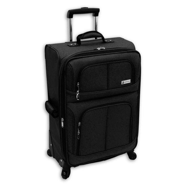 London Fog Nottingham 360 Black 25-inch Expandable Spinner Upright Suitcase