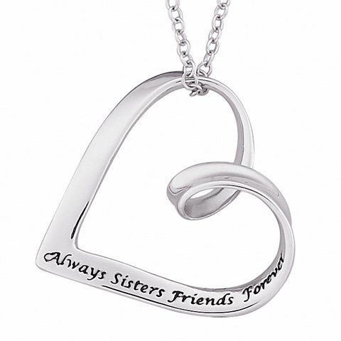 Sterling Silver Sisters Sentiment Heart Necklace