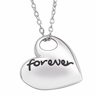 Sterling Silver Forever Open Heart Sentiment Necklace