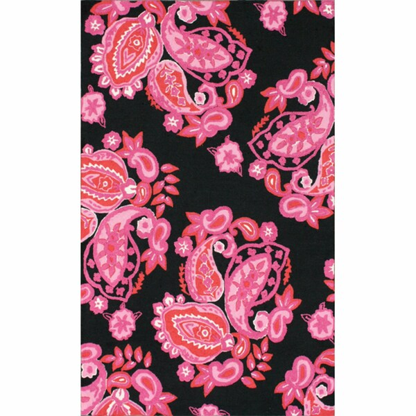 nuLOOM Handmade Floral Paisley Black Rug