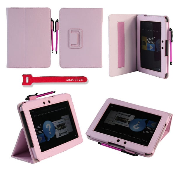 Deluxe Amazon Kindle Fire HD 7-inch Pink Protector Stand Case with Stylus Pen