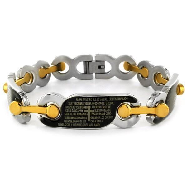 West Coast Jewelry Stainless Steel Spanish Lord's Prayer Link Bracelet