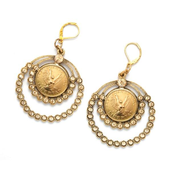 American Coin Treasures Angel Coin Crystal Chandelier Earrings