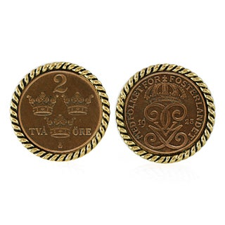 American Coin Treasures Swedish Coin ORE Crown Cufflinks