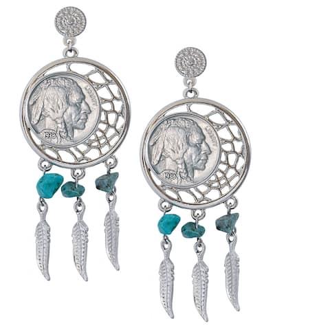 American Coin Treasures Dream Catcher Buffalo Nickel Post Earrings