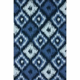nuLOOM Handmade Modern Ikat Trellis Blue Wool Rug