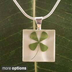Handmade Four Leaf Clover Square Pendant (Mexico)