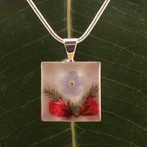 Handmade Forget-me-not Bouquet Square Pendant (Mexico)