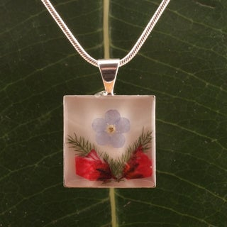 Forget-me-not Bouquet Square Pendant (Mexico)