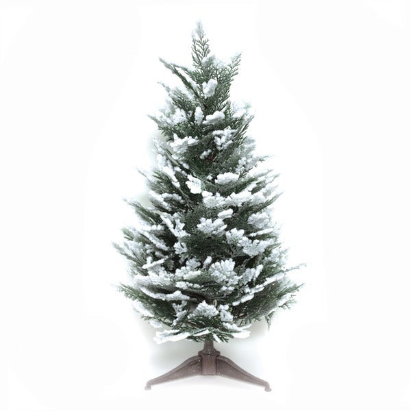 Good Tidings Snow Cedar 23-inch Tabletop Seasonal Tree
