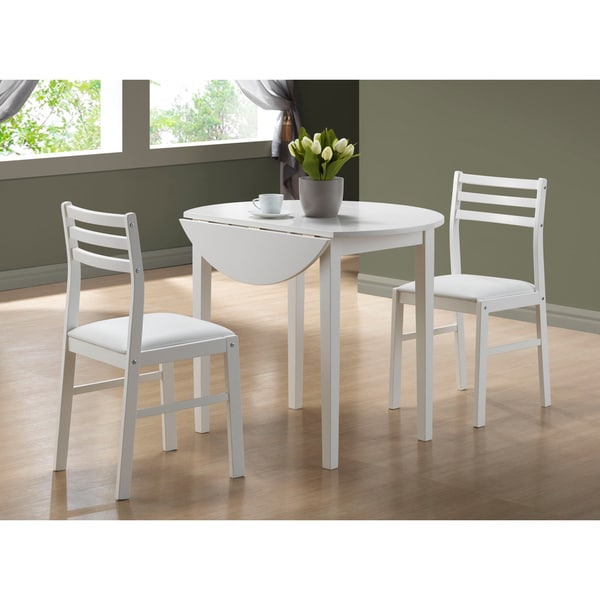 White Kitchen Dining Sets: White 3-piece Dining Set Drop Leaf Table