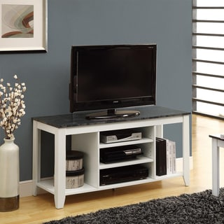 Shop White Grey Marble 48 Inch Tv Console Free Shipping
