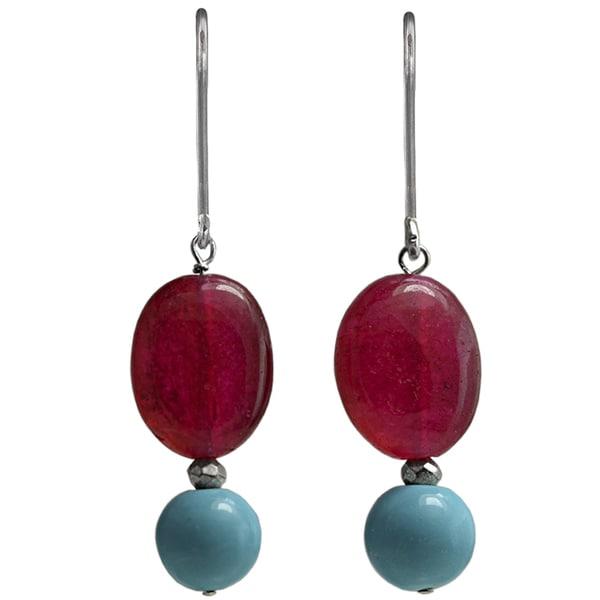 Ashanti Sterling Silver Turquoise and Ruby Quartz Earrings (Sri Lanka)