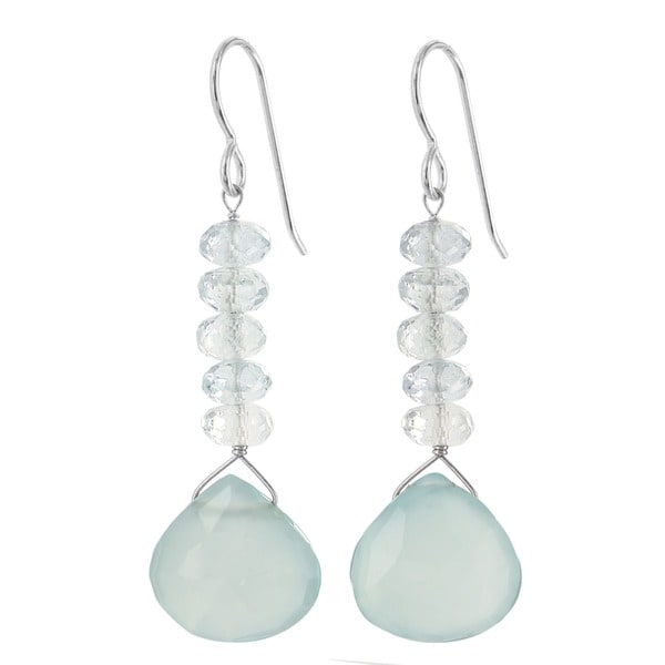 Ashanti Sterling Silver Aquamarine and Chalcedony Gemstone Handmade Earrings (Sri Lanka)