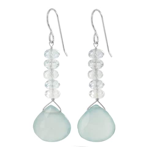 Aquamarine, Chalcedony Gemstone Silver Handmade Earrings