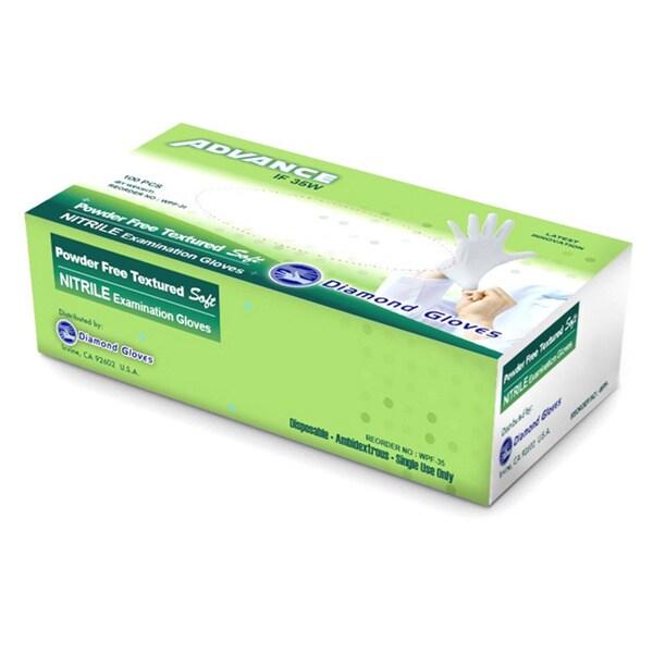White Nitrile Examination Powder Free Gloves by Diamond Gloves (Pack of 10)
