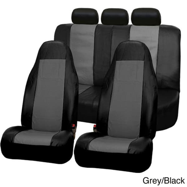 Airbag compatible and Rear Split Black Color FH-PU005115 Exquisite Leather Car Seat Covers