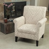 Bigalow Beige Zebra Fabric Club Chair by Christopher Knight Home