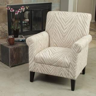 Alow Beige Zebra Fabric Club Chair By Christopher Knight Home