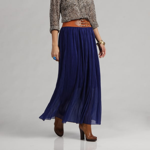 Meetu Magic Fashionable Women's Skirt with Fortuny Pleats in Cobalt Blue